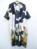 古着 レディース 7分袖 ガウン 羽織 和柄 女性 花 ロング丈 大きいサイズ 黒他 ブラック 19sep13 中古 アウター