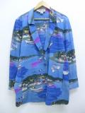 古着 レディース 長袖 テーラード ジャケット 90年代 ヨット 街 フランス国旗 シルク 水色 【spe】 19sep20 中古 アウター ジャンパー ブルゾン