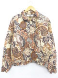 古着 レディース 長袖 ジャケット 葉 大きいサイズ シルク 茶他 ブラウン 19oct11 中古 アウター ジャンパー ブルゾン