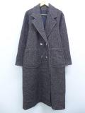 古着 レディース 長袖 コート 80年代 ツイード ウール ロング丈 USA製 こげ茶系 ブラウン 【spe】 19oct15 中古 アウター