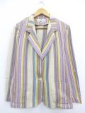 古着 レディース 長袖 テーラード ジャケット オービス ORVIS ラグ柄 コットン 薄紫他 パープル ストライプ 19oct15 中古 アウター ジャンパー ブルゾン