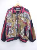 古着 レディース 長袖 ジャケット 90年代 マフラー スキー 総柄 シルク 大きいサイズ ベージュ カーキ 19oct21 中古 アウター ジャンパー ブルゾン