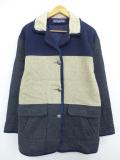 古着 レディース 長袖 ウール コート 90年代 マルチカラー 大きいサイズ USA製 濃グレー他 19nov11 中古 アウター