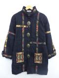 古着 レディース 長袖 コート 90年代 ネイティブ柄 ラグ柄 ウール USA製 黒 ブラック 【spe】 19nov11 中古 アウター