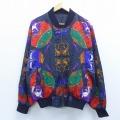 古着 レディース 長袖 ジャケット 天使 太陽 月 シルク 大きいサイズ イタリア製 黒他 ブラック 19nov21 中古 アウター ジャンパー ブルゾン