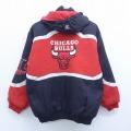 古着 長袖 ナイロン ジャケット パーカー NBA シカゴブルズ 刺繍 マルチカラー 赤他 レッド バスケットボール 19dec24 中古 アウター ウインドブレーカー