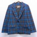 古着 レディース 長袖 テーラード ジャケット 80年代 80s ペンドルトン PENDLETON ウール USA製 青 ブルー タータン チェック 20feb10 中古 アウター ジャンパー ブルゾン
