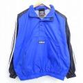 古着 レディース 長袖 ナイロン ハーフジップ ジャケット 90年代 90s アディダス adidas ワンポイントロゴ ラグラン 青他 ブルー 3本ライン 20oct27 中古 アウター ジャンパー ブルゾン