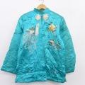 古着 レディース 長袖 ビンテージ スーベニア キルティング ジャケット 50年代 50s 花 鳥 刺繍 スタンドカラー 水色 21feb10 中古 アウター ジャンパー ブルゾン