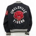 古着 長袖 ジャケット スタジャン 80年代 80s デロング サークルビルタイガー ウール 黒 ブラック 21feb12 中古 アウター ジャンパー ブルゾン