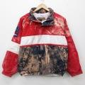 古着 長袖 ブランド セーリング ジャケット 90年代 90s ノーティカ NAUTICA ビッグロゴ コットン 刺繍 ラグラン 赤他 レッド ブリーチ加工 21mar22 中古 アウター ジャンパー ブルゾン