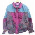 古着 レディース 長袖 ジャケット 90年代 90s ペイズリー柄 クレイジーパターン 大きいサイズ ラグラン マルチカラー 緑他 グリーン 21apr21 中古 アウター ジャンパー ブルゾン
