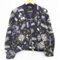 古着 レディース 長袖 ジャケット 90年代 90s 魚 総柄 コットン USA製 黒 ブラック 21apr21 中古 アウター ジャンパー ブルゾン