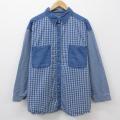古着 レディース 長袖 シャツ 大きいサイズ 薄紺 ネイビー デニム チェック 21mar22 中古 ブラウス トップス