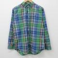 古着 長袖 ブランド シャツ 90年代 90s ラルフローレン Ralph Lauren ワンポイントロゴ コットン ボタンダウン 緑 グリーン チェック 21mar22 中古 ブラウス トップス