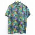 古着 レディース 半袖 シャツ 90年代 90s 総柄 シルク 緑他 グリーン 21apr01 中古 ブラウス トップス