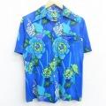 古着 レディース 半袖 ハワイアン シャツ 70年代 70s 花 総柄 開襟 オープンカラー 青他 ブルー 21apr20 中古 アロハ トップス