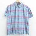 古着 レディース 半袖 シャツ 80年代 80s 水色他 チェック 21apr20 中古 ブラウス トップス