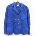 古着 長袖 シャツ ジャケット 80年代 80s シルク 開襟 オープンカラー 青 ブルー チェック 21may24 中古 ブラウス トップス
