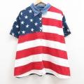 古着 半袖 シャツ レディース 星条旗 大きいサイズ 襟デニム 赤他 レッド 21jun17 中古 ブラウス トップス