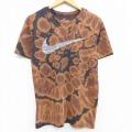 古着 レディース 半袖 Tシャツ ナイキ NIKE ビッグロゴ ドライフィット クルーネック 黒 ブラック ブリーチ加工 21apr16 中古