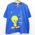 古着 レディース 半袖 ビンテージ Tシャツ 90年代 90s ルーニーテューンズ LOONEY TUNES トゥイーティー 大きいサイズ クルーネック 青 ブルー ブリーチ加工 21apr16 中古