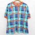 古着 レディース 半袖 ビンテージ Tシャツ トップス 90年代 90s 大きいサイズ コットン クルーネック 緑 グリーン チェック 21apr16 中古