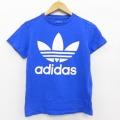 古着 レディース 半袖 Tシャツ アディダス adidas リーフ トレフォイル ビッグロゴ コットン クルーネック 青 ブルー 21apr23 中古