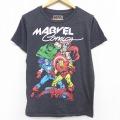 古着 半袖 Tシャツ マーベル スパイダーマン ハルク キャプテンアメリカ クルーネック 濃グレー 霜降り 21apr23 中古