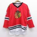 古着 長袖 Tシャツ アイスホッケー ジャージ リーボック REEBOK ワンポイントロゴ NHL シカゴブラックホークス パトリックシャープ 10 Vネック 赤 レッド ユニフォーム 21apr28 中古