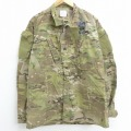 L★古着 長袖 ミリタリー ジャケット コンバット USアーミー ARMY リップストップ USA製 濃緑 グリーン 迷彩 21feb19 中古 メンズ アウター フライト
