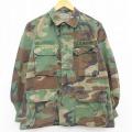 L★古着 長袖 ミリタリー ジャケット 90年代 90s US ARMY アーミー コンバット コットン ウッドランドカモ USA製 緑 グリーン 迷彩 21apr22 中古 メンズ アウター フライト