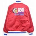 L★古着 長袖 ナイロン ジャケット 90年代 90s レッドマン インディアン 刺繍 ラグラン USA製 赤 レッド 21feb18 中古 メンズ アウター ウインドブレーカー