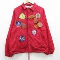 M★古着 長袖 ナイロン ジャケット 90年代 90s SCOUT ワッペン ラグラン USA製 赤 レッド 21feb19 中古 メンズ アウター ウインドブレーカー