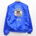 L★古着 長袖 ナイロン ジャケット 90年代 90s トラック AT&T 刺繍 ラグラン USA製 青 ブルー 21apr23 中古 メンズ アウター ウインドブレーカー