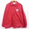 XL★古着 長袖 ナイロン ジャケット 80年代 80s キングルイ ラグラン ユニオンメイド USA製 赤 レッド 21may07 中古 メンズ アウター ウインドブレーカー
