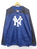 XL★古着 長袖 トップス MLB ニューヨークヤンキース ツートンカラー 紺他 ネイビー メジャーリーグ ベースボール 野球 19sep16 中古 メンズ アウター