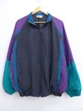 XL★古着 長袖 ジャケット マルチカラー 大きいサイズ シルク 黒他 ブラック 19oct29 中古 メンズ アウター ジャンパー ブルゾン