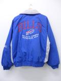 L★古着 長袖 ジャケット 90年代 NFL バッファロービルズ 刺繍 ラグラン 青 ブルー アメフト スーパーボウル 19nov05 中古 メンズ アウター ジャンパー ブルゾン