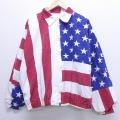 XL★古着 長袖 ジャケット 90年代 90s 星条旗 大きいサイズ 赤他 レッド 20apr01 中古 メンズ アウター ジャンパー ブルゾン