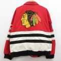 XL★古着 長袖 レーシング ジャケット 90年代 90s ジェフハミルトン JH DESIGN NHL シカゴブラックホークス 刺繍 大きいサイズ 赤他 レッド アイスホッケー 20dec08 中古 メンズ アウター ジャンパー ブルゾン