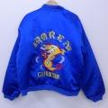 XL★古着 長袖 スーベニア ジャケット 80年代 80s コリア 刺繍 ミラーワッペン 内側キルティング 青 ブルー 21jan12 中古 メンズ アウター ジャンパー ブルゾン