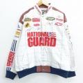 XL★古着 長袖 レーシング ジャケット NASCAR シボレー ナショナルガード 星条旗 大きいサイズ コットン 白 ホワイト 21jan15 中古 メンズ アウター ジャンパー ブルゾン