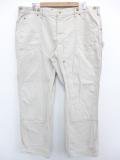 W42★古着 ブランド ペインター パンツ 90年代 ラルフローレン Ralph Lauren ダック地 ダブルニー 大きいサイズ コットン 薄ベージュ カーキ 19oct25 中古 メンズ ボトムス ロング