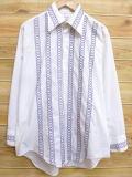 XL★古着 長袖 シャツ 70年代 刺繍 USA製 白 ホワイト 18jan12 中古 メンズ トップス