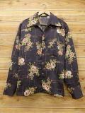 L★古着 長袖 シャツ 70年代 花 こげ茶 ブラウン 18jun08 中古 メンズ トップス