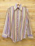 M★古着 長袖 シャツ 70年代 アロー USA製 紫他 パープル ストライプ 18jun08 中古 メンズ トップス