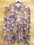 XL★古着 長袖 シャツ 70年代 Kマート 建物 女性 茶系 ブラウン 18aug21 中古 メンズ トップス