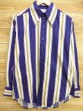 L★古着 長袖 シャツ 70年代 USA製 紺他 ネイビー ストライプ 18aug21 中古 メンズ トップス
