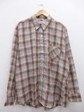XL★古着 長袖 シャツ 70年代 USA製 こげ茶 ブラウン チェック 18dec17 中古 メンズ トップス